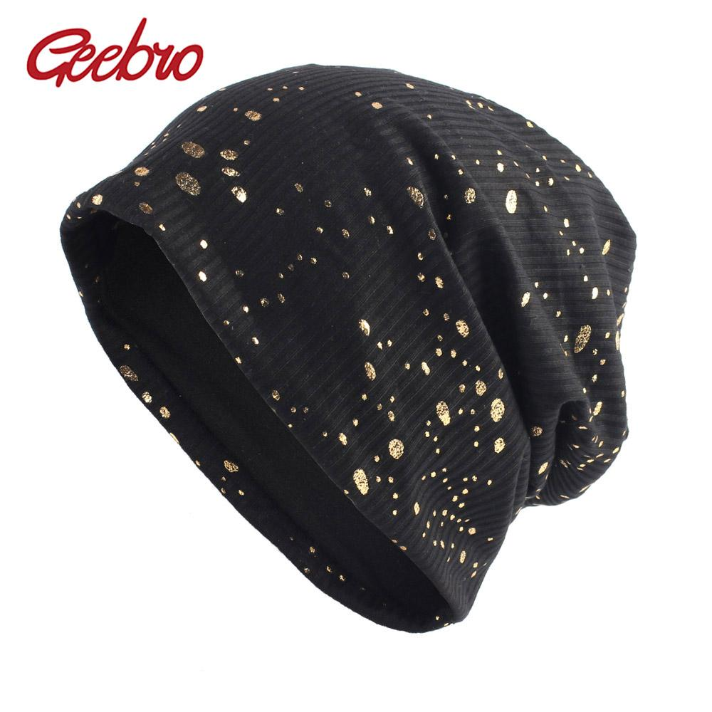 6a1ea236db0 Geebro Women S Splatter Paint Beanie Hat Autumn Metallic Color Ribbed Cotton  Slouchy Beanies For Femme Black Bronzing Skullies Baseball Hat Beach Hats  From ...