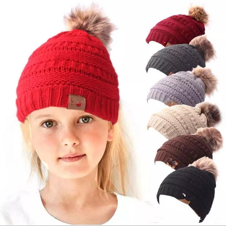 9fa51c7038c Kids Pom Beanies Thick Stretchy Knit Slouchy Beanie Cap Hat Children Winter  Beanie With Pom Lined Pompom Hats MMA1088 Headwear Beanies For Men From ...
