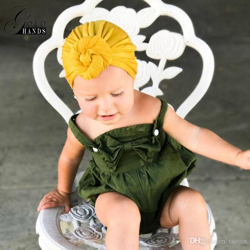 Bebek Salyangoz Düğümlü Kapaklar Yenidoğan Moda Hint Şapka Çocuklar Sevimli Jumper Beanies Katı Pamuk Bebek Aksesuarları