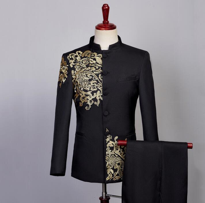 Compre Blazer Hombres Vestido Formal Bordado Traje De Túnica Chino Chorus Hombres  Traje Homme Terno Masculino Trajes De Boda Para Hombres A  115.5 Del ... efecf722fc7