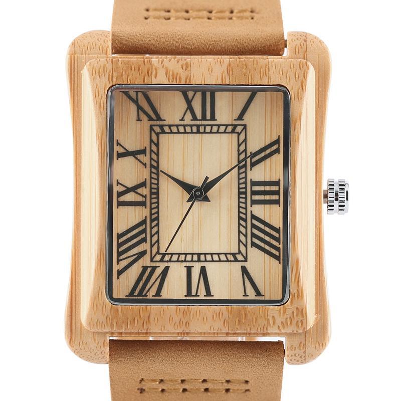 8d3c4c1e6c0a Compre Reloj Cuadrado Único De Madera De Bambú Relojes Creativos Banda De  Cuero Genuino Para Hombre Reloj De Pulsera De Cuarzo Hechos A Mano Números  Romanos ...