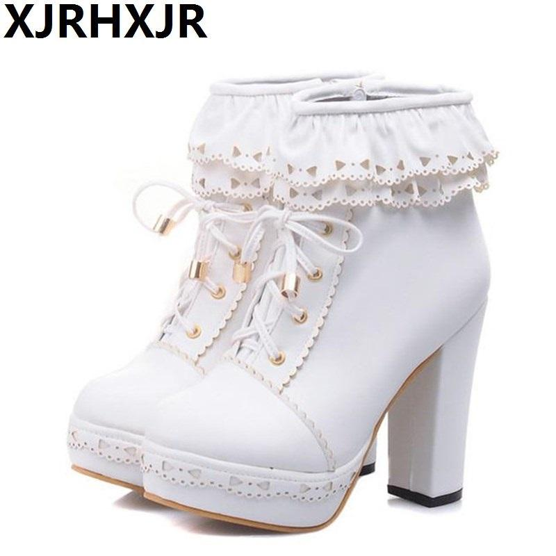b96efc025f6 Winter New Lolita Boots Shoes For Woman Platform High Heel Sweet Bow  Ruffles Women Ankle Boots Lolita Princess Shoes Big Size 43 Military Boots  Walking ...