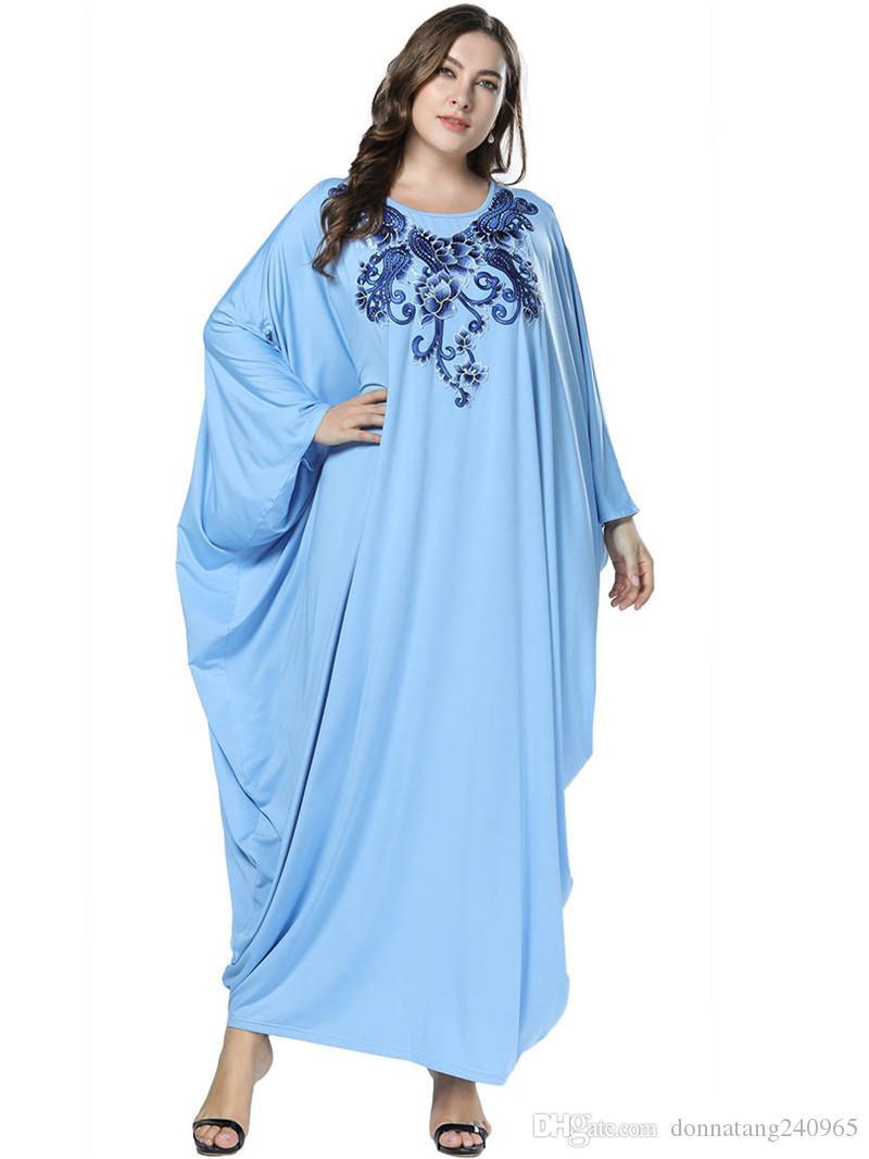 8247038c 2019 Spring/ Autumn Fashion Islamic Muslim Embroidery Abaya Women Batwing Long  Sleeve Ladies Robe High Quality Burka Long Dress 7325 From Donnatang240965,  ...