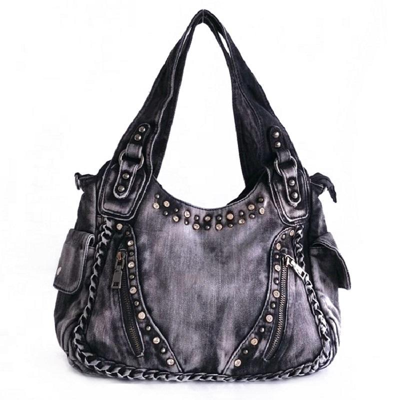 82480ab9dbc3 Women Bag Denim Handbags Female Jeans Shoulder Bags Diamonds Rivets Weave Design  Woman Tote Purse Bolsa Feminina Shoulder Bags For Women Bags For Women From  ...