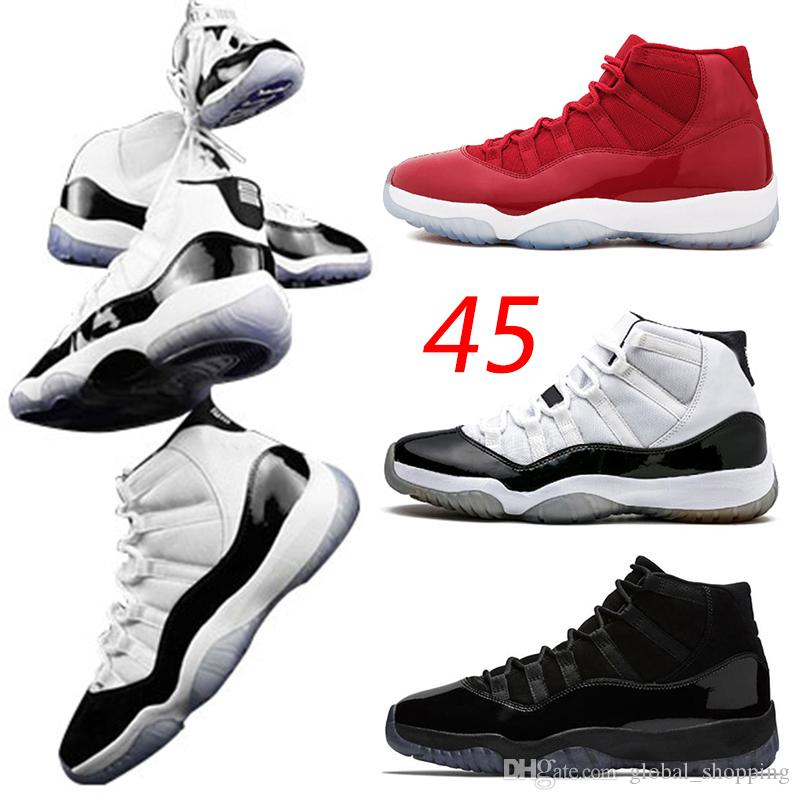 factory price 1a511 9607b New 11s Concord 45 Men Basketball Shoes XI Blackout Prom Night Gym Red Win  Like 96 Platinum Tint Barons Women Sports Shoes Sneakers Mens Sneakers ...