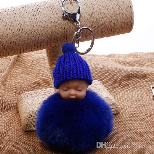 Bebé dormido Fluffy Fur pompom Llavero Conejo Fur Bola conejito llavero pompón porte clef Clave ringllaveros porte clef Key Holde