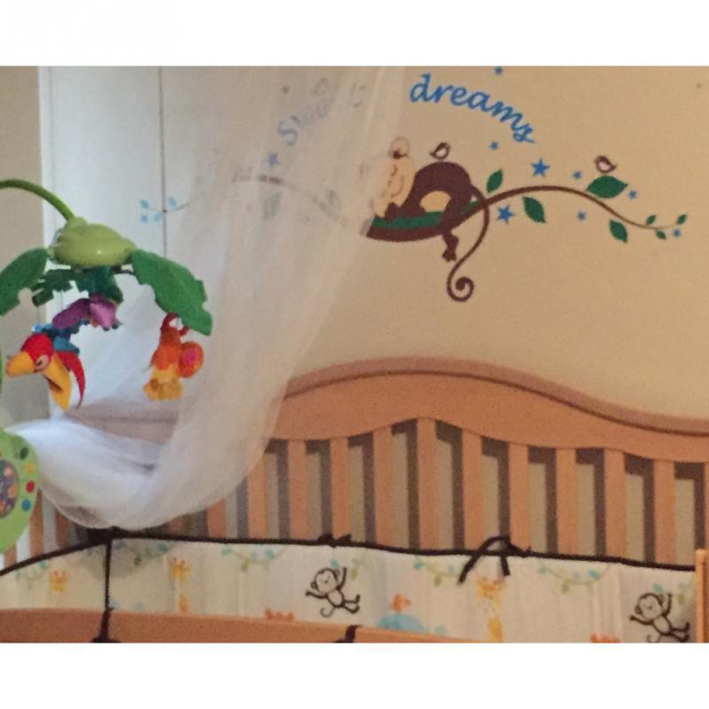 Dessin animé Sommeil Singe Doux Rêves Arbre Branche Autocollant Mural Decal Papier Peint Garçon Bébé Chambre Décor À La Maison NOUVEAU