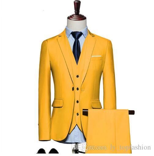 Compre Trajes Para Hombre 2018 Slim Fit 3 Piezas Novio Traje De Boda 4XL  5XL 6XL Rojo Amarillo Verde Oscuro Blanco Púrpura Trajes Para Hombres Q20 A   90.6 ... 177241c8134