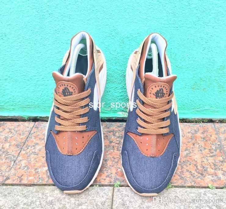 2017 chaussures nike air Huarache KIMLIK Özel Nefes Koşu Ayakkabı Erkekler Kadınlar Için Denim lacivert tan Hava Huaraches Renkli Sneakers Hurache Spor