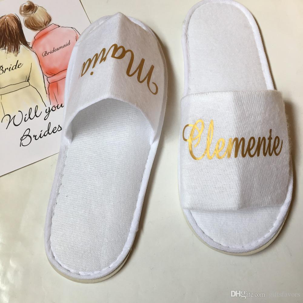 4cfb88a5b Personalized White Disposable Slippers With Gold Sliver Logo Wedding  Bachelorette Hen Party Favors Gifts For Guest Wedding Favor Boxes Cheap  Wedding Favor ...