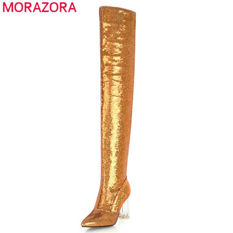 les bottes paillettes à en tissu nouvelle sur au genou femmes 2018 mode Morazora qnR8ZpAx