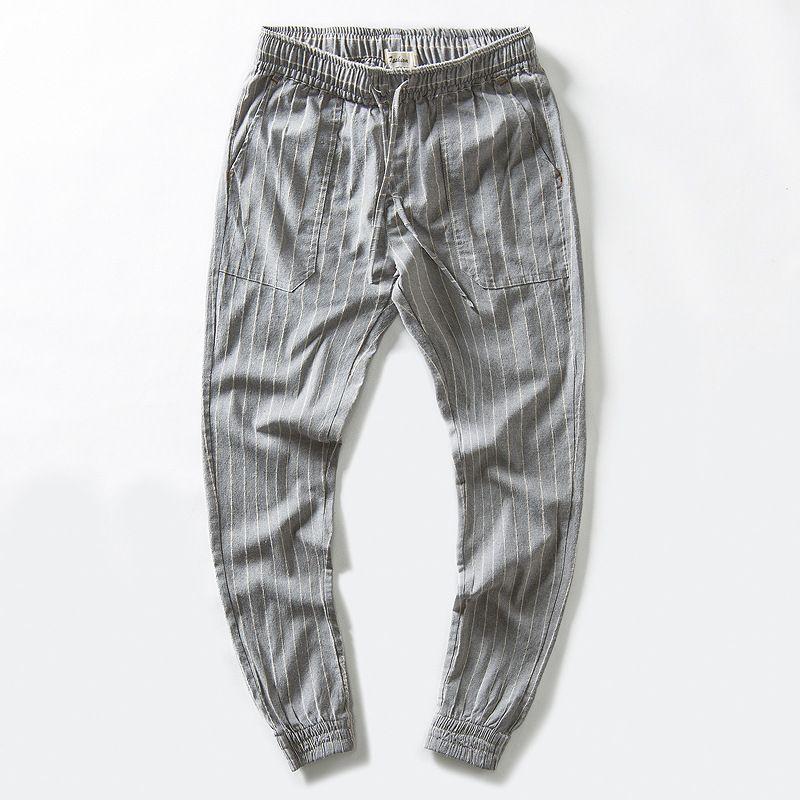 Joggers Sueltas Pantalones Elástica Para Lino Cómodos Streetwear Fit Rectas  Pantalones Compre Hombre A Bolsillos Slim ... 7b5eefe675982
