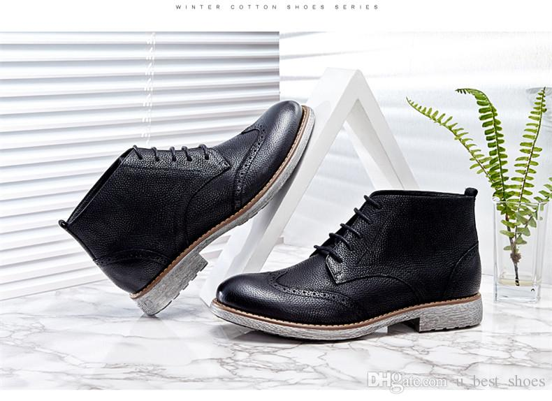 Mens boots,bullock shoes,ankle boots.Carving design,2018 a new fashionable style,Highlight youth and fashion.Black and brown,lace-up.