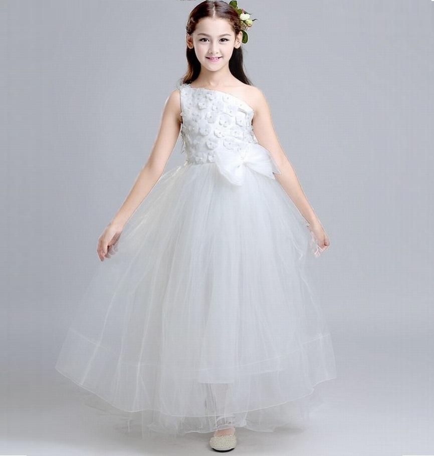 55566d5d31146 White Kids Flower Girl Dress Charming Single Shoulder Princess Girls Party  Prom Birthday Wedding Bridesmaid Beautiful Children Dress ST117