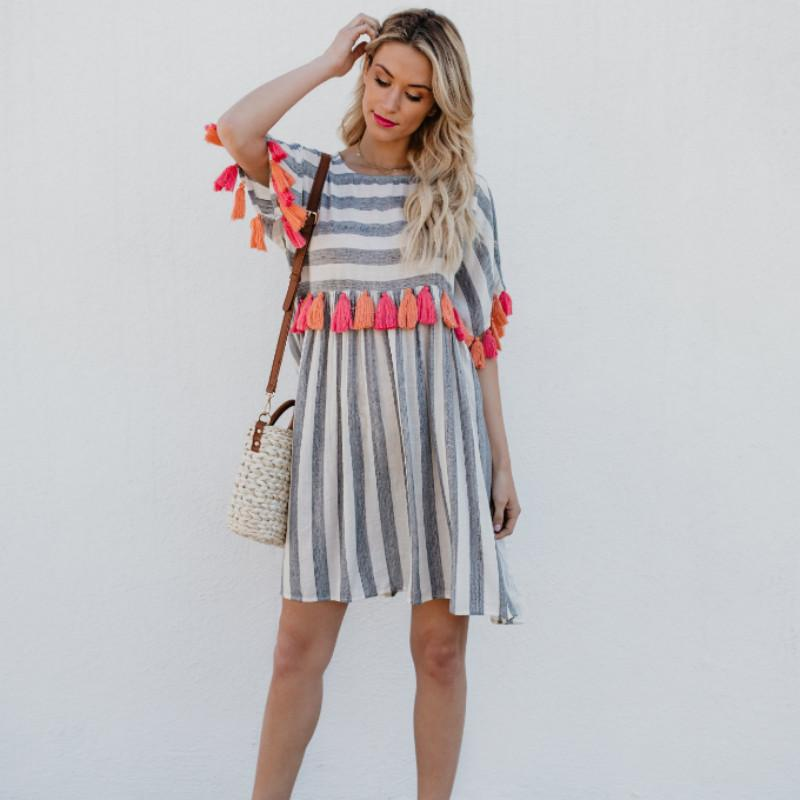 2076d36a8a8 Fashion New Summer Style 2019 Women Tassel Beach Dress Round Neck Short- Sleeved Striped Women s Color Loose Dresses