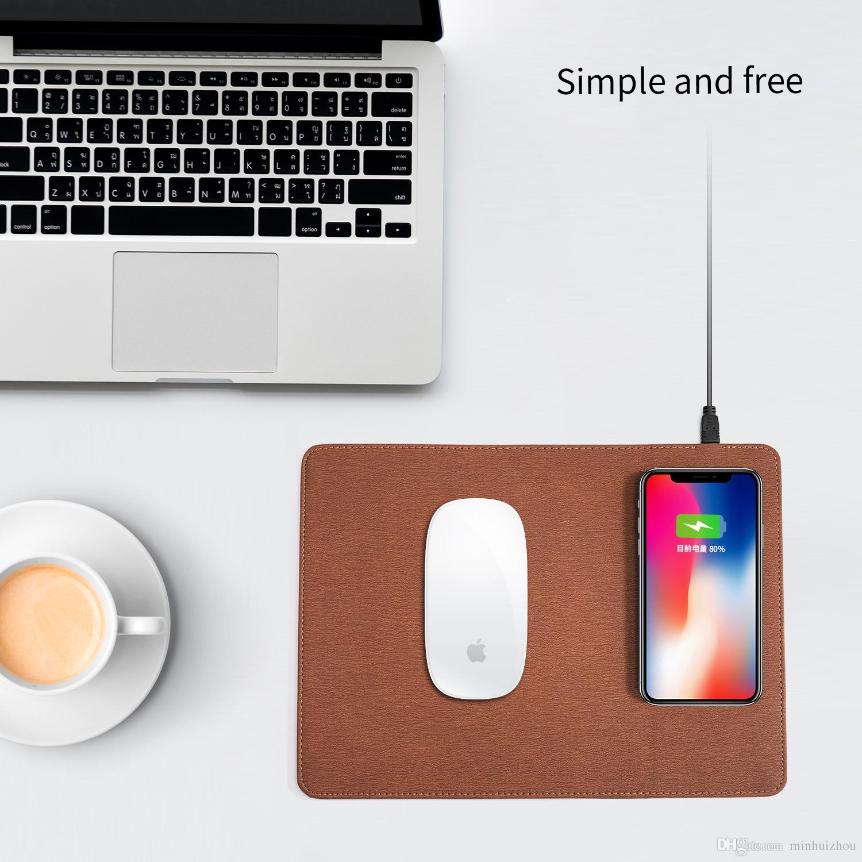 Son çıkan PU deri Tüm satış yüksek kalite hızlı şarj Qi kablosuz şarj Mouse pad mat Iphone Samsung için