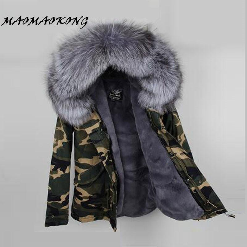 2017 Women Winter Camo Parkas Large Raccoon Fur Collar Hooded Coat Outwear  2 In 1 Detachable Lining Winter Jacket Brand Style UK 2019 From Brry 884bed94c6
