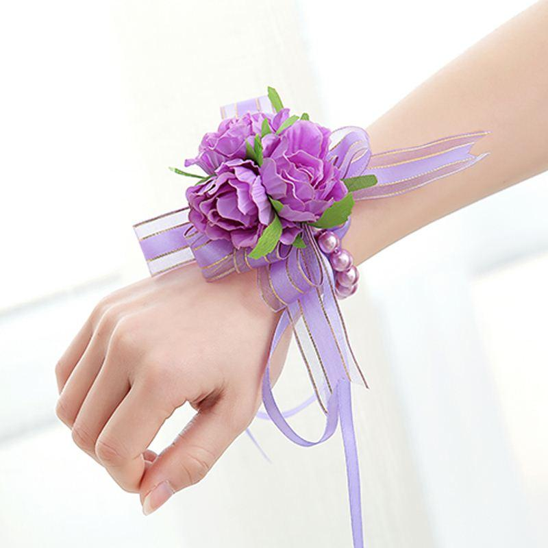 2019 Latest Design 1pc Handcrafted Wrist Corsage Bracelet Artificial Silk Rose Flowers For Wedding Hand Flower Bouquet For Bride Event Supplies Medical & Mobility