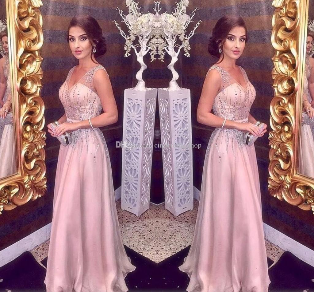 Blush Pink Abiti da sera 2020 A Line Spaghetti con scollo a V maggiore perline chiffon lungo da promenade del partito del tappeto rosso ragazze Pageant abiti a buon mercato