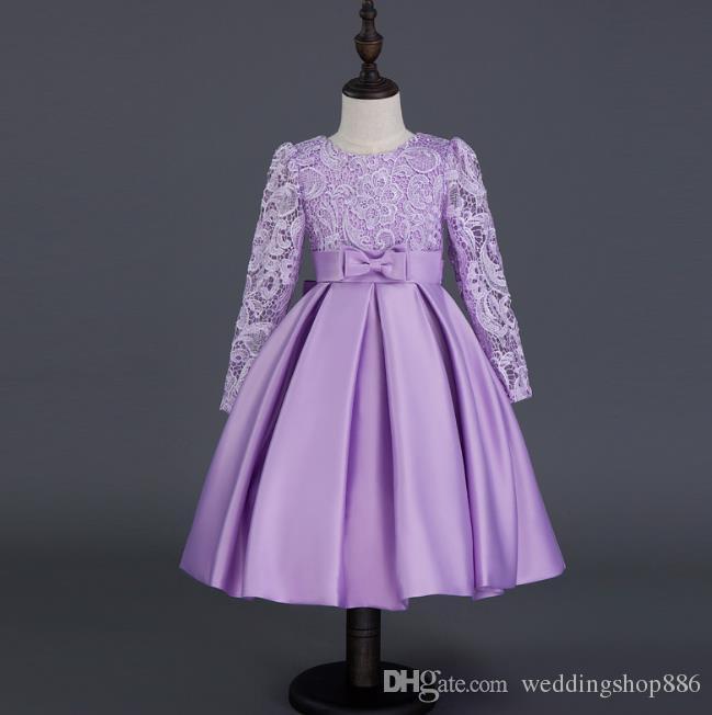 b55bef94d6 Flower Girls Dresses Sunny Fashion Lace Hem Long Sleeve Wedding First  Communion 2018 Summer Princess Ball Gown Party Dresses Cheap Girls Dresses  Girls ...