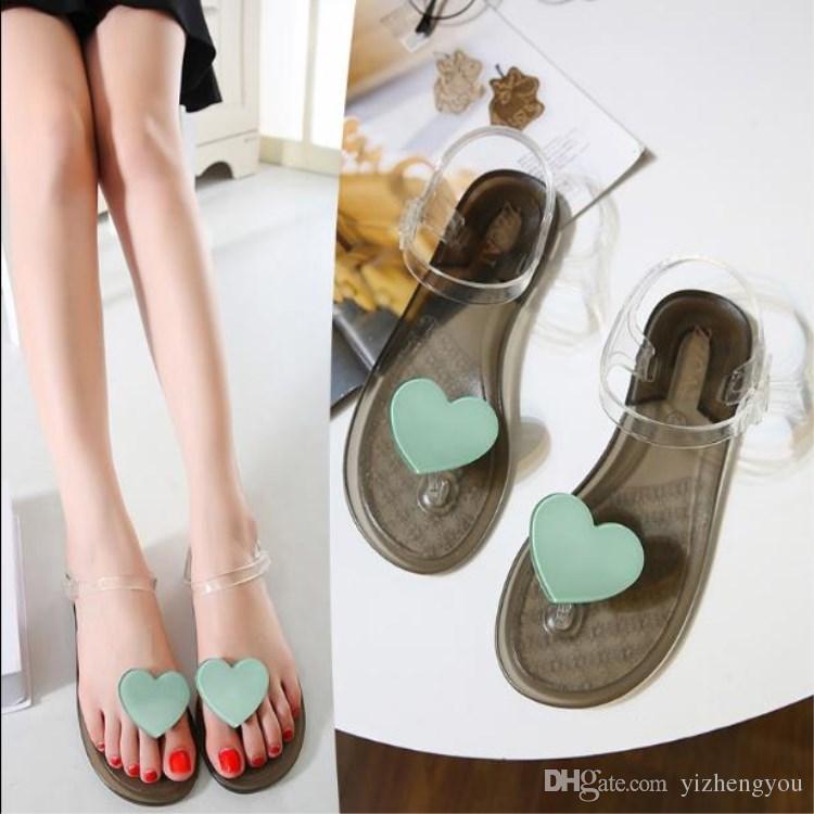 Transparent Flip Flops FEMMES FRUITS Chaussures Sweet Sandales De Plage Pantoufles Talon Plat