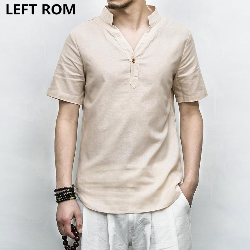 1e8545f2faf 2019 LEFT ROM Summer Casual Men Linen Shirt Short Sleeve Solid V Neck  Collar Leisure Shirts Men Clothing Morning Exercise Clothes 5XL From  Hongxigua