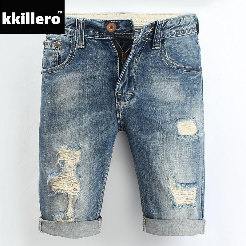 a708a03340c28c Mens Denim Shorts 2018 New Summer Regular Casual Knee Length Short Bermuda  Masculina Hole Jeans Shorts For Men