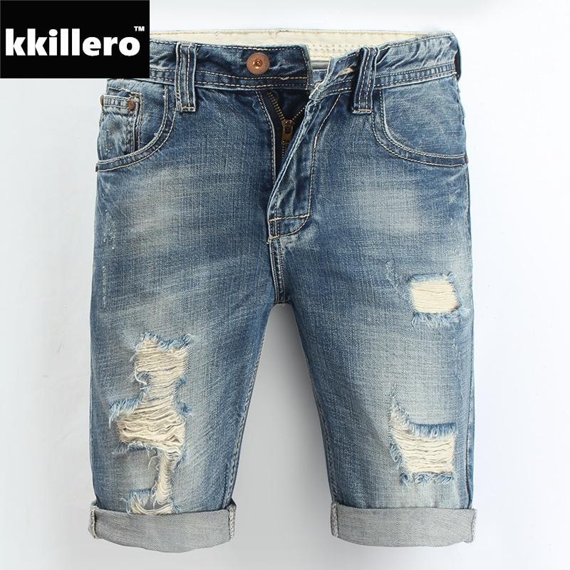 31328aba82490 Compre Pantalones Cortos De Mezclilla Para Hombre 2018 Nuevo Verano Regular  Casual Longitud De La Rodilla Corto Bermuda Masculina Hole Jeans Shorts Para  ...