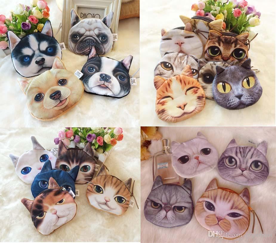 3D Printed Lovely Cute Cat Dog Animal Face Printed Zipper Coin Purses Purse Wallets Makeup Mini Bag Pouch