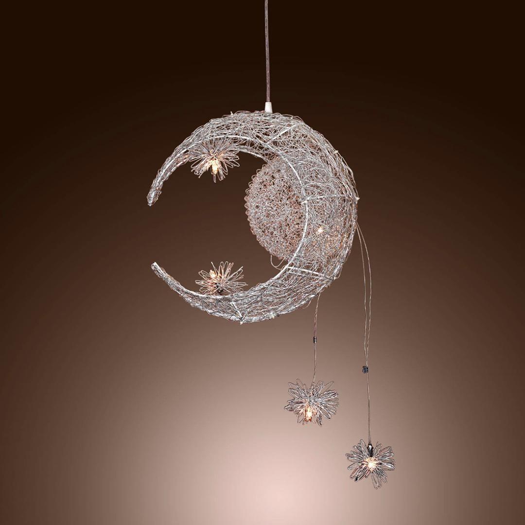 Moon star sweet bedroom lighting pendant lamp chandelier ceiling light fixture pendant lighting parts plug in pendant lighting from samanthe