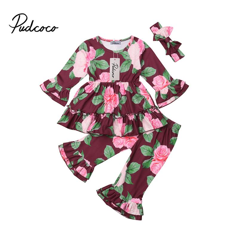 49ba449eadafb Pudcoco Toddler Baby Girls Outfits Ruffle Logn Sleeve T-shirt+Long Pants  Headband Fall Winter Flower Clothes Set 2pcs