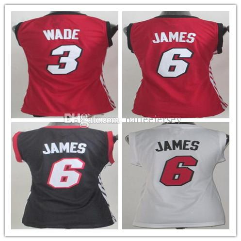 Women s 3 Dwyane Wade 6 LeBron James Jersey 100%embroidery Red White Black  3 Wade 6 James Basketball Shirt LBJ Retro Basketball Jerseys Dwyane Wade 6  James ... b0222cf30