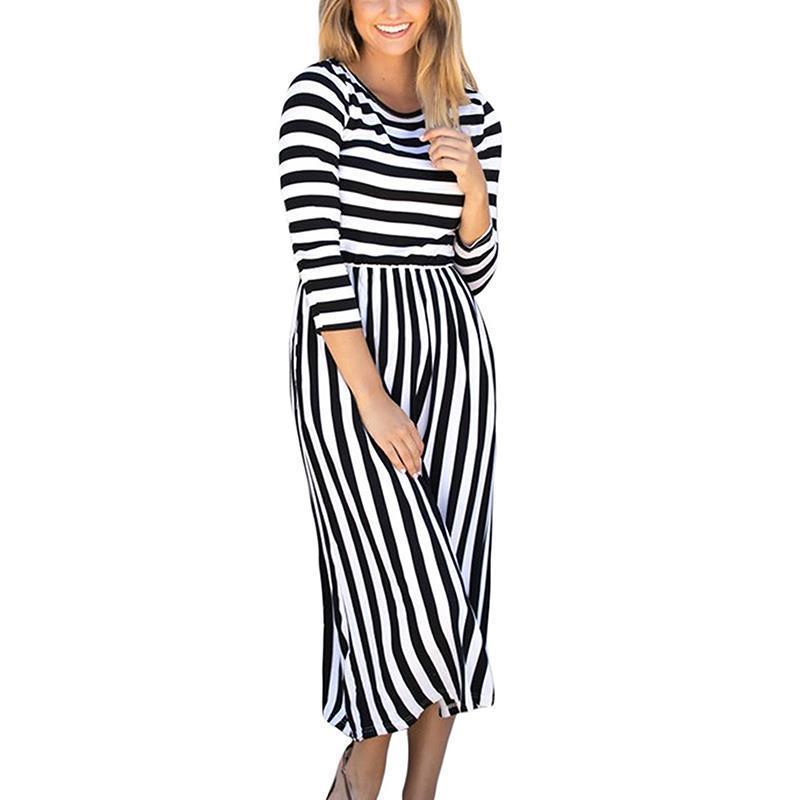 Strip Long Maxi Dresses for Summer
