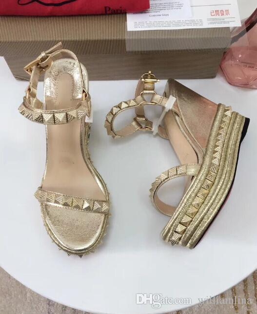 Charm Red Bottom Cataclou Studded Platform Wedge Summer Ankle Strap Sandals For Women,Design Ladies Sandalias Muje Flats,Party Dress Wedding