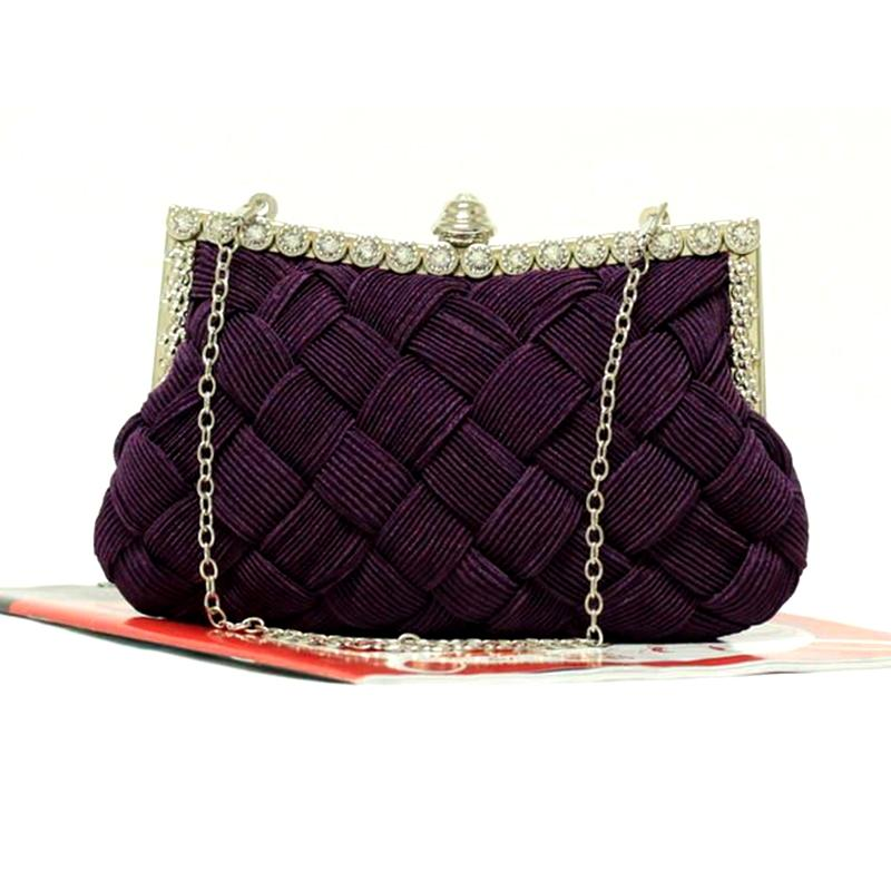 2016 Fashion Satin Beaded Crystal Knitted Clutch Evening Bags bride clutch with Chains tote party bag for evening dress 2 styles