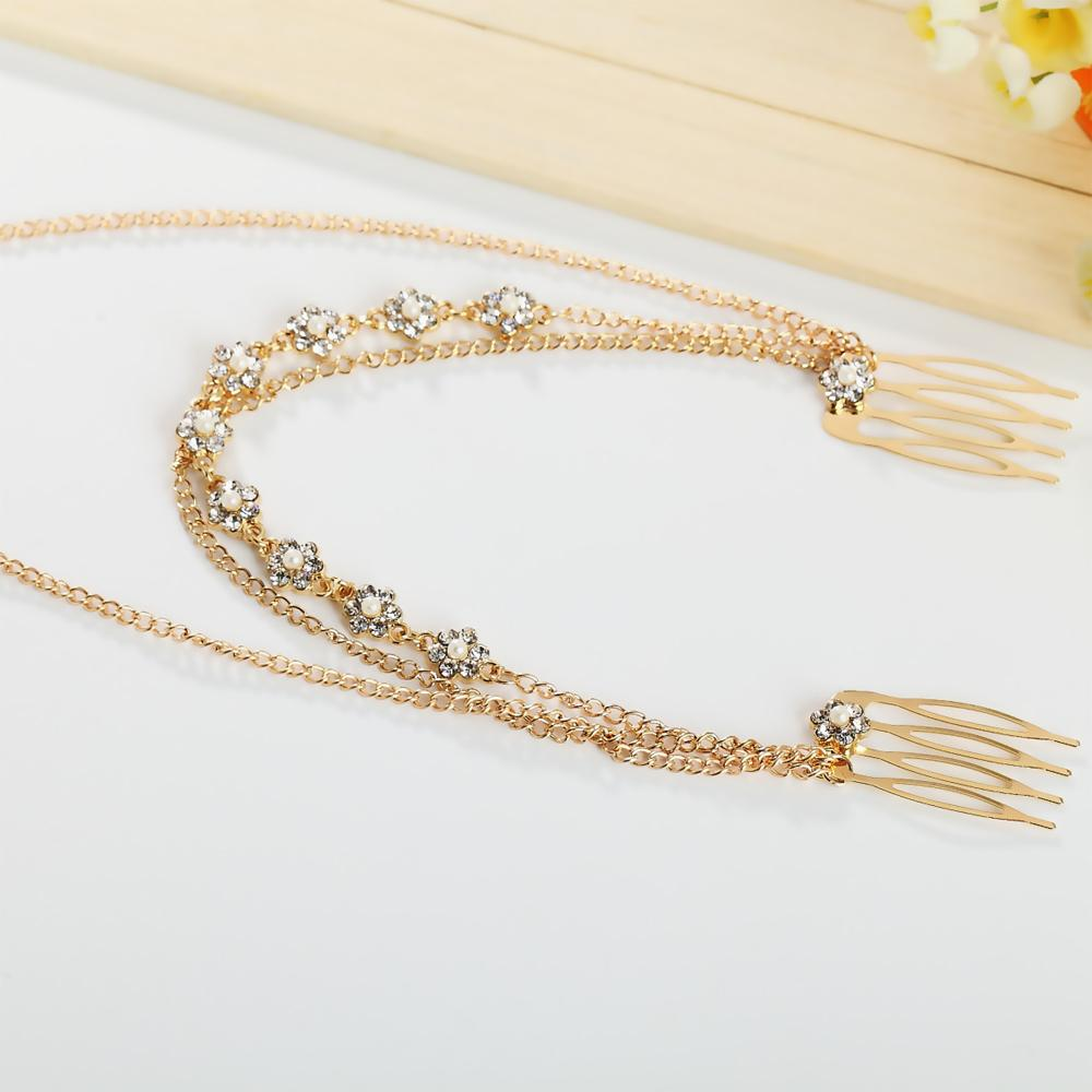 KINS Fashion Woman Double Hair Comb Cuff Pin Chic Crystal Flower Gold Color Chain HairBand Wedding Prom HeadPiece Jewelry A00063