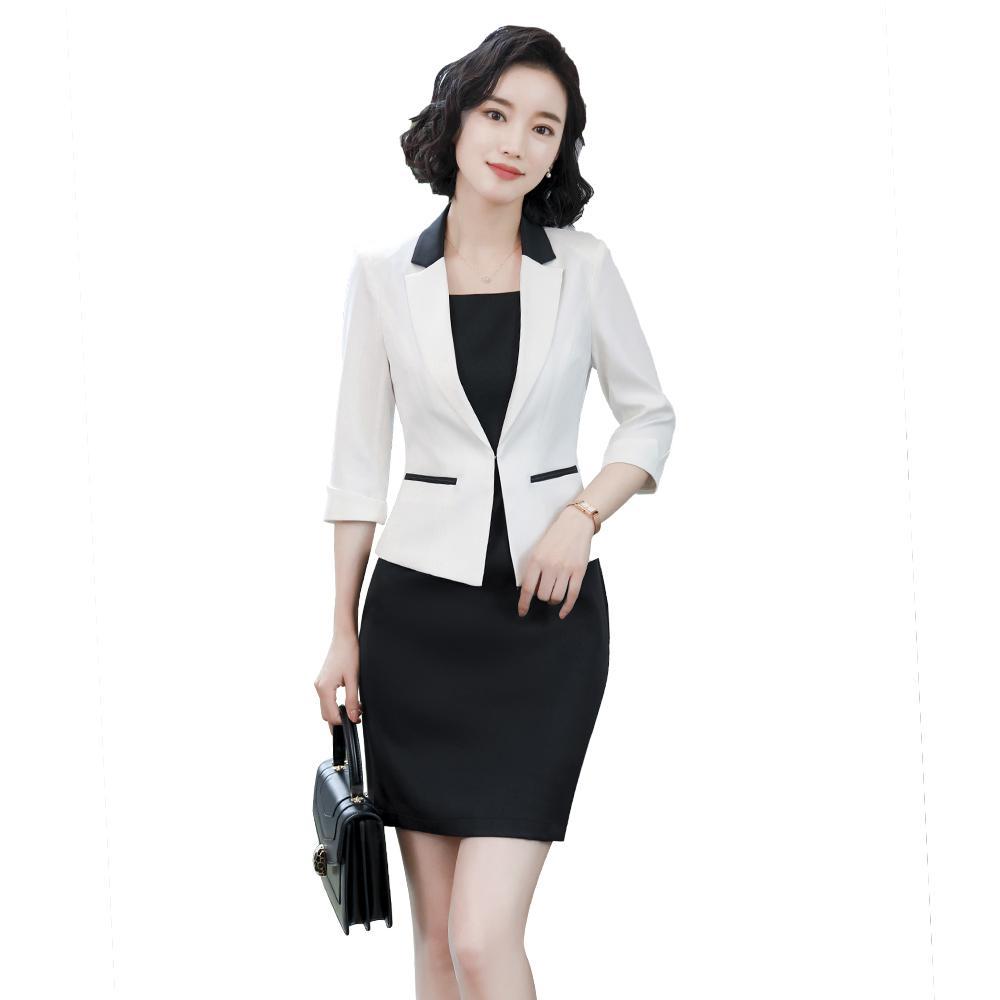 2019 Women Office Dress Suits & Blazer Plus Size Elegant Pencil ...