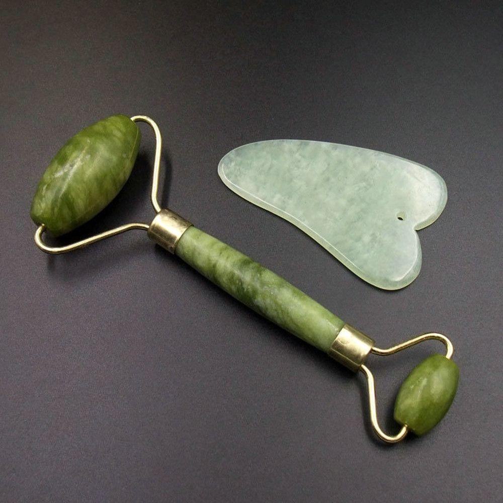 2sets Gua Sha Facial Roller Massager Natural Jade Board Scraping Tool Skin  Care Health Care Massage Tools A23 Ap9