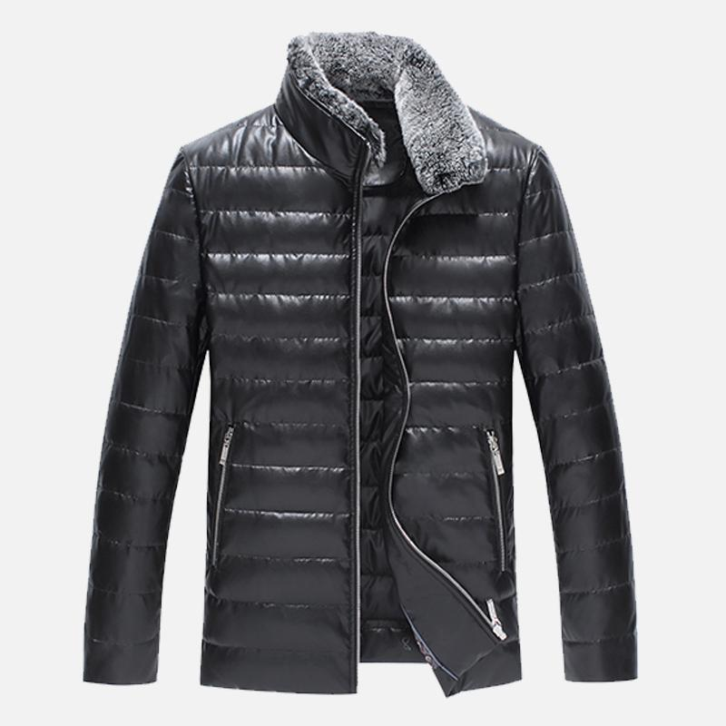 NEW luxury Leather Winter Jackets Men Clothes Black Casual Autumn Mens Winter Coats Cotton Padded Parka Keep warm down jacket