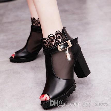 Acquista Sandali Donna Tacchi Peep Alti Scarpe Toes Stivali Da ABS6qAO