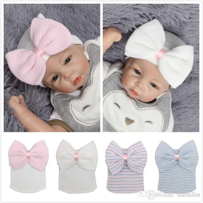 2019 Newborn Baby Hat Toddler Baby Warm Hat Striped Caps Soft Hospital  Girls Hats Bow Beanies For Girls 0 3M From Damiliu 204873d45130