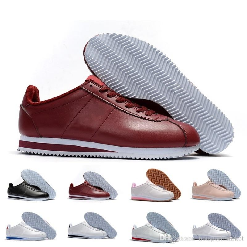 more photos d34a8 84a6e Classic Cortez Basic Leather Casual Shoes Cheap Fashion Men Women Black  White Red Golden Skateboarding Sneakers Size 36 44 Mens Sneakers Cheap  Shoes From ...