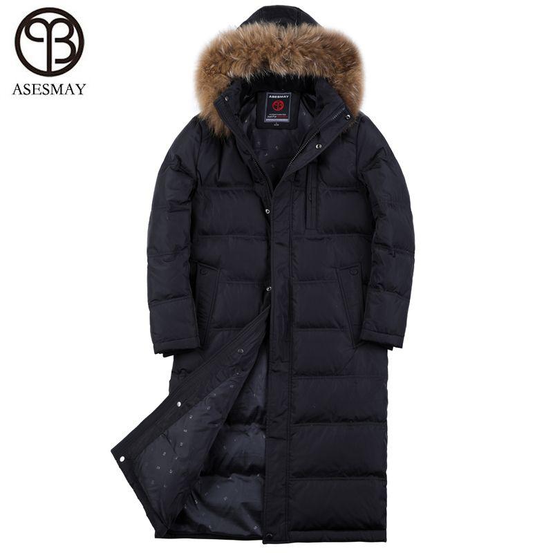 Acquista Asesmay Winter Jacket Men Marchio Di Abbigliamento Di Alta Qualità  90% Bianco Piumino D oca Cappotto X Lungo Felpa Con Cappuccio Da Uomo Di ... 1ef6eef4a76