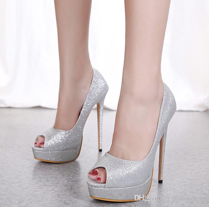 cc22dbd3ece34b Großhandel 15cm Frauen Designer Schuhe Sexy High Heels Silber Pailletten  Glitter Hochzeit Schuhe Größe 35 Bis 40 Von Tradingbear