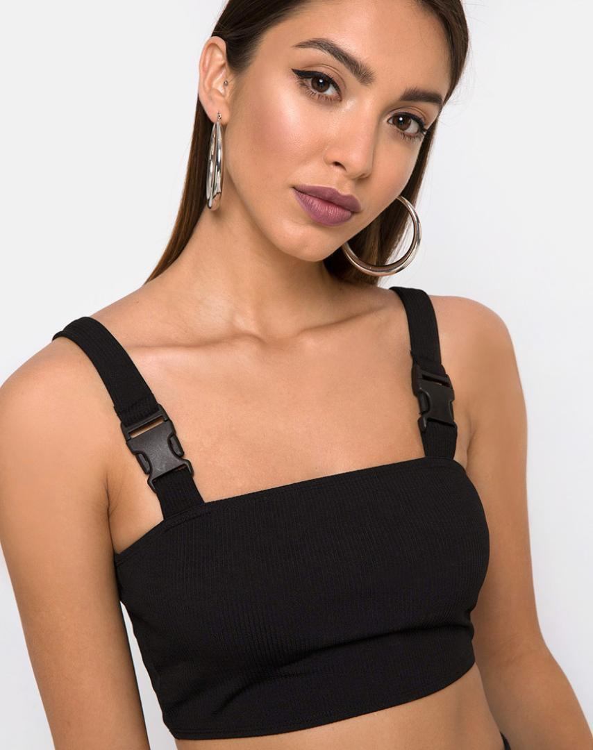 3b1f1d3cc13a02 2019 Summer Women Sexy Black Straps Tank Top Buckle Crop Top Streetwear  Camis Backless Open Shoulder WT1731568 From Layette66