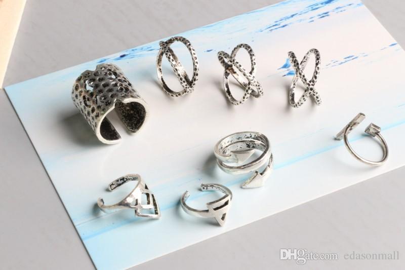 Grosshandel 8 Teile Satz Silber Pfeil Ring Sets Hohl Ringe Vintage