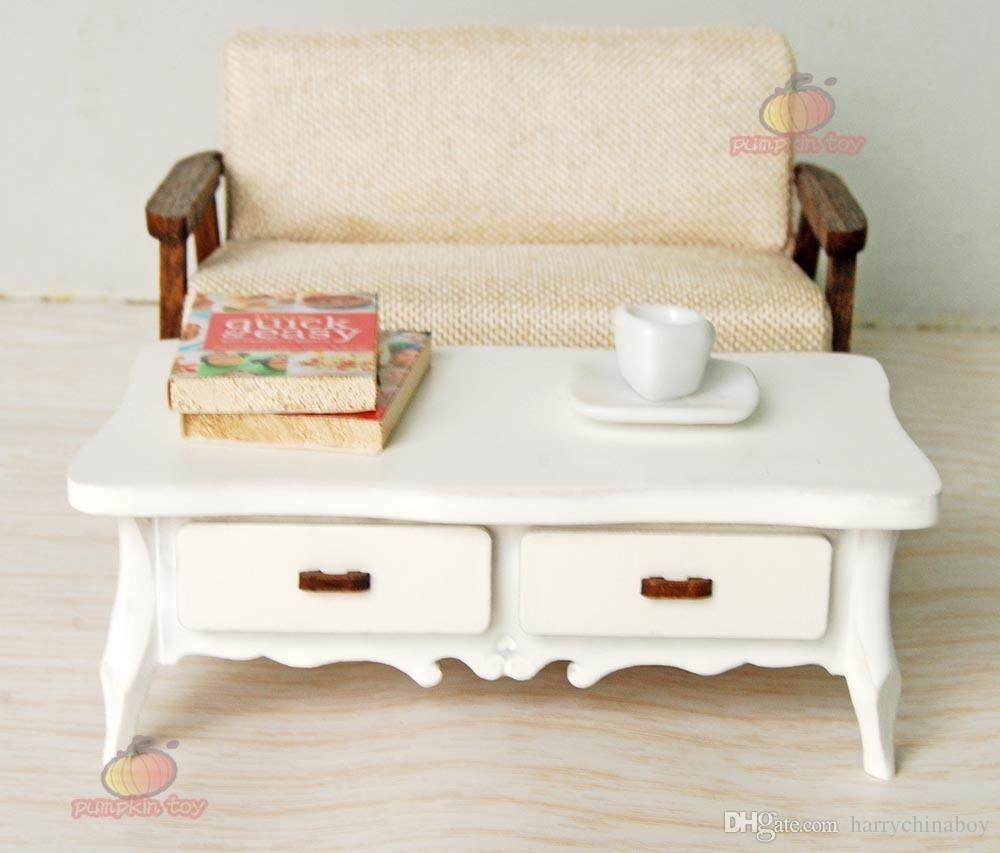 doll house furniture sets. 1:12 Miniature White Wooden Dining Tea Coffee Table Kitchen Furniture Dollhouse For 18 Inch Dolls House Sets From Harrychinaboy, Doll