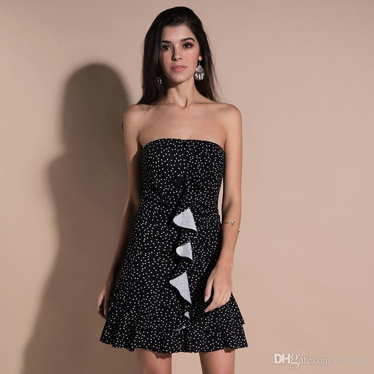 60ef238b8a4a3 2018 Europe And the United States New Women s Strapless Skirt Trend Wrapped  Chest Point Dress Summer Dress Strapless Skirt Wave Dress Online with ...