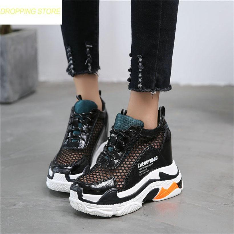 0df65d2a11a Women Lace Up Cow Leather Wedge Platform Ankle Boots Casual Party Shoes  Breathable Mesh High Heel Pumps Punk Sandals