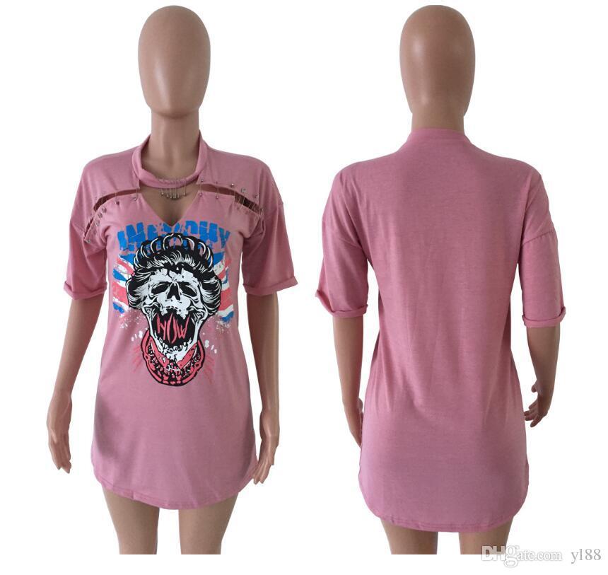 pink Women Clothes Fashion Robes de haute qualité à imprimé de crâne avec une tête de ville en coton de style urbain 3 couleurs, jupe en requin noé